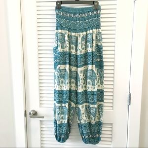 Pants - Elephant print boho hippy pants